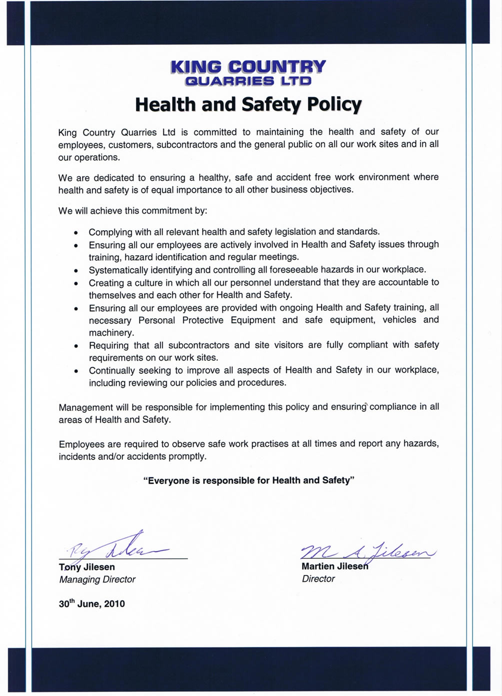 Hse Health And Safety Policy Template Earthmoving Rock Work Quarry Products Taumarunui